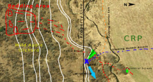 Several features come together at this stand location (blue X) to funnel deer onto the huntable property.  (White lines indicated terrain change.)